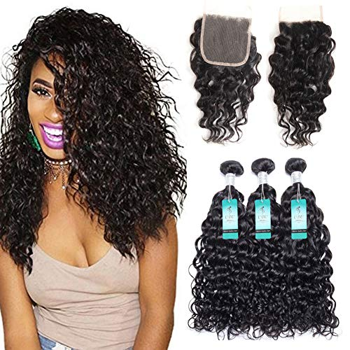 Water Wave Bundles with Closure, UDU 10A Malaysian Ocean Wave Wet & Wavy Bundle Deals Human Hair Weave Extensions Remy Hair Bundles 100g/bundle