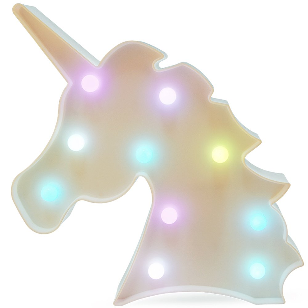 Unicorn Light Unicorn Party Supplies Kids Unicorn Colorful Unicorn Lamp Battery Operated Unicorn Table Decorations for Wall Decoration,Kids' Room,Living Room,Bedroom (Colorful Unicorn) by KiBlue