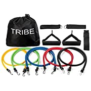 #LightningDeal 96% claimed: Tribe 11pc Resistance Band Set - with Door Anchor, Handles, Ankle Straps - Stackable Up To 80lbs - For Resistance Training, Physical Therapy, Home Workouts