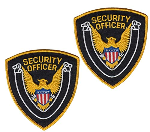 2 Pack - Security Guard, Officer Shoulder Patch, Golden American Eagle, Embroidered