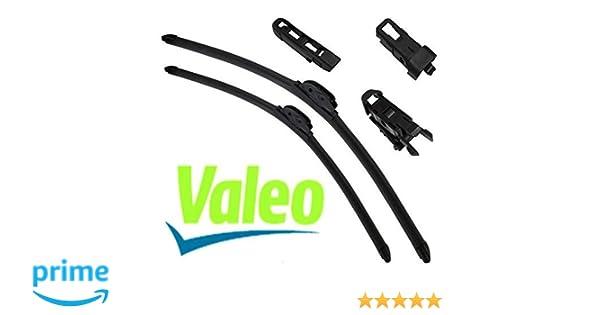 VALEO: Juego de 2 escobillas de limpiaparabrisas planos con rascadores 65/50cm: Amazon.es: Coche y moto