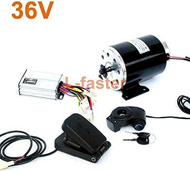 L-faster Motor eléctrico de Alta Velocidad de 24V36V48V 500W MY1020 del Motor Cepillado con el Motor eléctrico del reemplazo de la Bici del pie Uso 25H o Cadena de T8F (36V Pedal