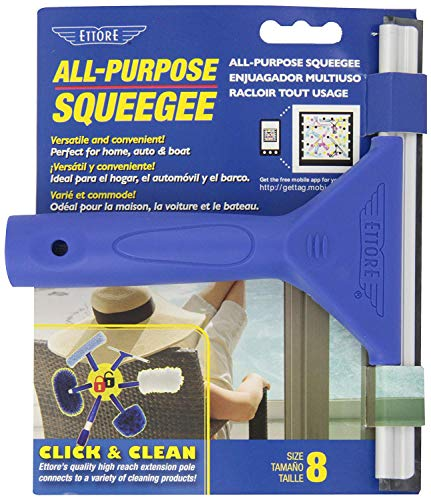 Ettore 8-Inch All Purpose Window Squeegee with Lifetime Silicone Rubber Blade