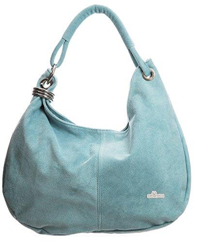 LIATALIA - Large sac à main style cabas/hobo/slouch pour femme en suède italien porté épaule - 'Fiona'(Bleu (Pierre)) Bleu Pastel