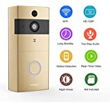 [2018 Newest] Doorbell Camera,Safevant VideoDoorbell with PIR Motion Detection,720P Smart Doorbell, Real-Time Video and Two-Way Talk,Night Vision,Phone Ring,Free APP,Gold