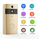 [2018 Newest] Doorbell Camera,Safevant Video Doorbell with PIR Motion Detection,720P Smart Doorbell, Real-Time Video and Two-Way Talk,Night Vision,Phone Ring,Free APP,Only Supprt 2.4GHZ,Gold