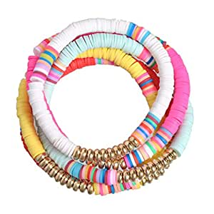 5 Pcs Surfer Bracelets Set Colorful Sliced Clay Bracelets Handmade Rainbow Polymer Elastic Rope Boho Beaded Bracelet Set Summer Beach Surf Stackable Stretch Jewelry Bracelets (Multi)