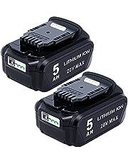 Lasica 2-Pack Replacement for Dewalt 20V Battery 5.0 Ah DCB205-2 DCB204-2 DCB206-2 Compatible with DEWALT 20 Volt MAX Cordless Power Tools DCK240C2 DCK1020D2 DCF885C1 and DeWalt 20V Battery Charger