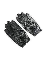Ambesi Men's Classic Lambskin Leather Driving Gloves Black L