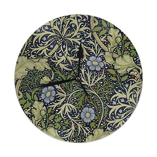 William Art Morris Round - Dadi-Design William Morris Art Prints Wall Clock Silent & Non-Ticking Quartz Clock PVC for Home Office School Decorative Round 9.8