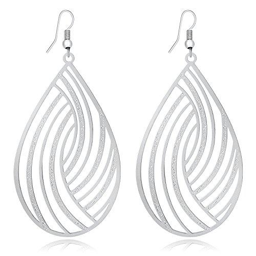 DMI Fashion Jewelry Silver-Tone Filigree Cutout Teardrop Shape Lightweight Dangle Earrings