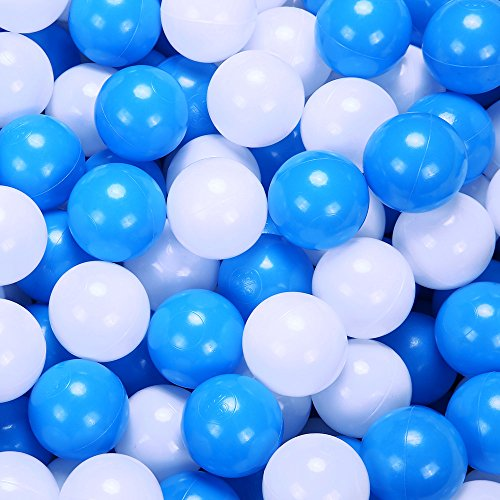 PlayMaty 100 Pieces Colorful Pit Balls Plastic Ocean Ball Crush Proof Stress Balls for Kids Playhouse Pool Ball Pit Accessories 2.1 Inches (Blue&White)
