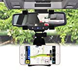 HOME CUBE Universal 360 degree Mobile Phone Holder Car Mount Rearview Mirror Navigation GPS Holder Phone Holder Stand - Black Color