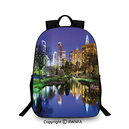 (Notebook computer schoolbag,North Carolina Marshall Park United States American Night Reflections on Lake Photo Backpack Cool Children Bookbag, Multicolor)