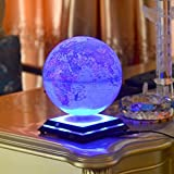 Electronic Grace LED Light Globes Luminous Globes Magnet Toys Levitation Floating Magnetic Rotating Globe Anti-gravity Floating Levitating Earth Luminous Sphere Wireless Power Supply(blue) Picture
