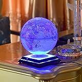 Electronic Grace LED Light Globes Luminous Globes Magnet Toys Levitation Floating Magnetic Rotating Globe Anti-gravity Floating Levitating Earth Luminous Sphere Wireless Power Supply(blue) Picture