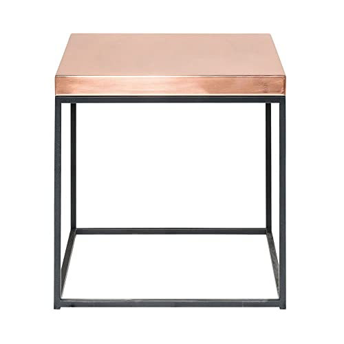 gold end table. Rose Gold Top On Industrial Steel Frame - Cube Shaped Side/End Table, Nightstand End Table