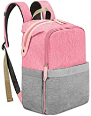 Canway Diaper Bag Backpack Unisex Baby Bag Travel Maternity Nappy Bag Large Capacity with Insulated Pockets, Diaper Bag Backpack Multi-Function Waterproof and Durable for Mom & Dad (Pink-Gray)