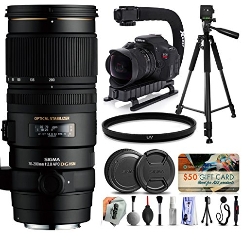 "Sigma 70-200mm F2.8 EX DG OS APO HSM Lens for Canon (589101) + Full Size 60"" Tripod + Action Video Stabilizer + Ultra Violet UV Filter + Deluxe Cleaning Set + Lens Brush + Cap Keeper -  47th Street Photo, SG589101K7"