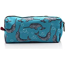 LParkin Narwhal Students Canvas Pencil Case Pen Bag Pouch Stationary Case Makeup Cosmetic Bag (Blue)