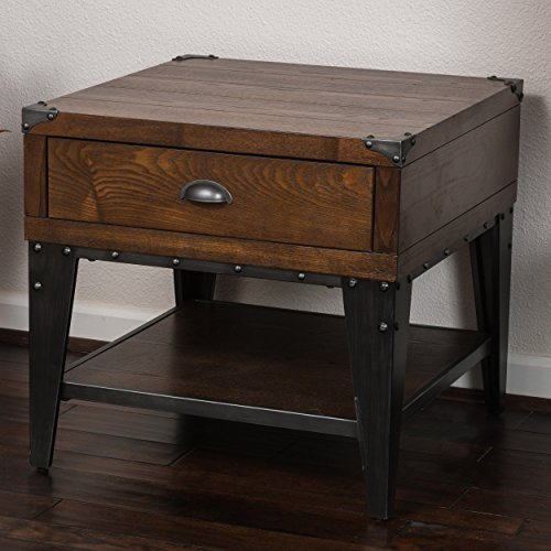 ModHaus Living Industrial Modern Square Dark Oak Side End Table Accent Nightstand with Shelf and Storage Drawer – Includes Pen
