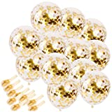 #1: Gold Confetti Balloons 20 Pieces, 12 Inches Party Balloons With Golden Paper Confetti Dots For Party Decorations Wedding Decorations And Proposal (Gold)