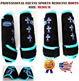 Professional Equine Horse Medium 4-Pack Sports Medicine Splint Bell Boots 4152D