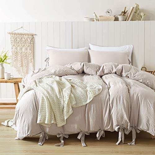 annadaif Duvet Cover Queen(90x90 Inch), 3 Pieces Khaki Ultra Soft Washed Cotton Bowknot Bow Tie Queen Duvet Cover, Easy Care Duvet Cover Set for Men, Women (Duvet Covet)
