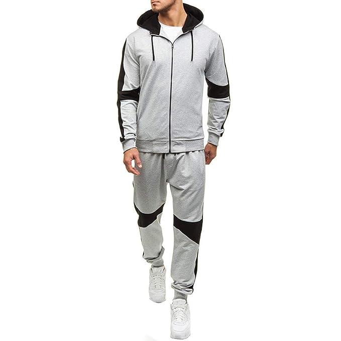 DE Herren Trainingsanzug Winter Fleece Kapuzen Mantel Jogginghose Freizeit Anzug