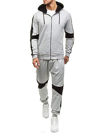 Mens 2 Piece Tracksuit Set, Zipper Hoodie Coat Jacket + Elastic Pants Sweatpants for Jogger