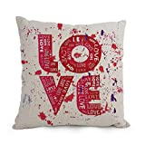 elegancebeauty Love throw cushion covers 18 x 18 inches / 45 by 45 cm gift or decor for relatives,teens,monther,sofa,father,christmas - each side