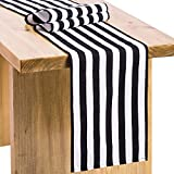 """black and white decorations Letjolt Striped Table Runner Wedding Table Runner Fabric Table Top Decoration for Pirate Themed Party Baby Shower Birthday Holiday Party Event & Graduation Party, 12"""" x 72"""""""
