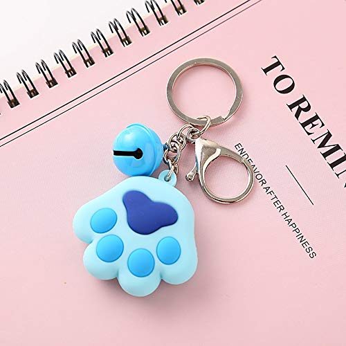 (Lovely Cute Animal Dog Paw Silicone Key Chains Keyring Keychain Bright Color Lobster Clasp Bell Pendant)
