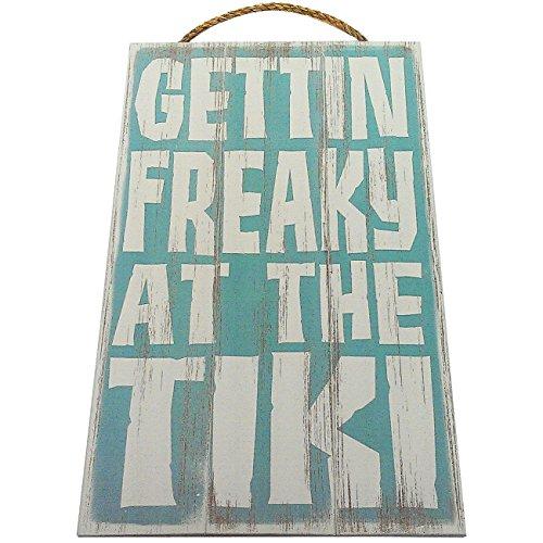 Tiki Accessories (Gettin Freaky At The Tiki Vintage Wood Sign For Tiki Bar Wall Decor Or Gift -- PERFECT TIKI BAR DECOR!)