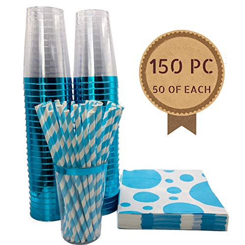 Blue Plastic Cups 12 oz + Blue Cocktail Napkins + Blue Paper Straws | Turquoise Cups | Blue Party Cups | Fancy Disposable Cups | Boy Baby Shower Decorations |Tiffany Blue Party Supplies
