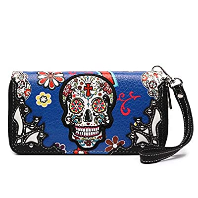 Sugar Skull Western Cross Clutch Wallet Day of the Dead Wristlet Purse Calavera