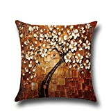 """Hoomall 3D Oil Painting Sofa Throw Pillow Case Cushion Covers Decorative Life Tree Flowers with Zipper 18""""x18"""" Brown"""