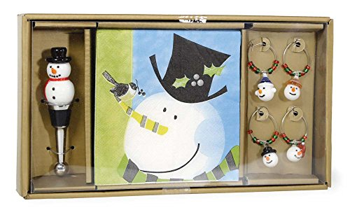 Classic Snowman and Top Hat Cocktail Drink Napkins, Bottle Stopper and Charms Boxed Set