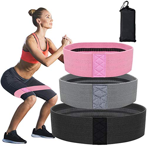 Resistance Bands for Legs and Butt Exercise Bands - Non Slip Elastic Booty Bands, 3 Levels Workout Bands Women Sports Fitness Band for Squat Glute Hip Training (Black+ Grey +Rose)