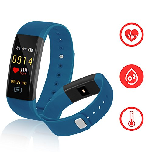 Fitness Tracker,Kirlor New Version Colorful Screen Smart Bracelet with Heart Rate Blood Pressure Blood oxygen Monitor,Smart Watch Pedometer Activity Tracker Bluetooth for Android & IOS(Blue)