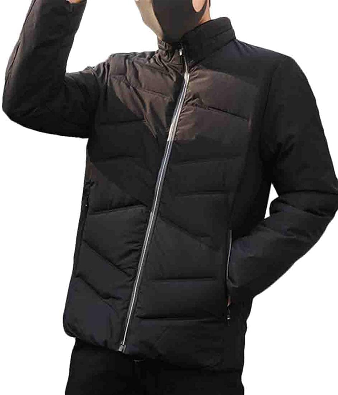 Hurrg Mens Casual Zip-Up Padded Quilted Thicken Outwear Stand Collar Winter Down Puffer Jacket