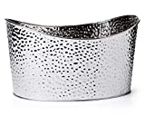 GiftTree Metal Hammered Oval Storage Bin | Set of Three (3) Silver Tubs | Organization, Decoration, Beer or Wine Chiller, Bucket, Gift Basket, Container | Great for Display, Parties or Décor