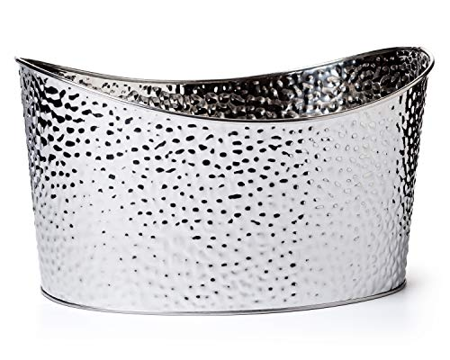 GiftTree Metal Hammered Oval Storage Bin | Set of Three (3) Silver Tubs | Organization, Decoration, Beer or Wine Chiller, Bucket, Gift Basket | Great for Display, Parties, Outdoor Planter or Décor