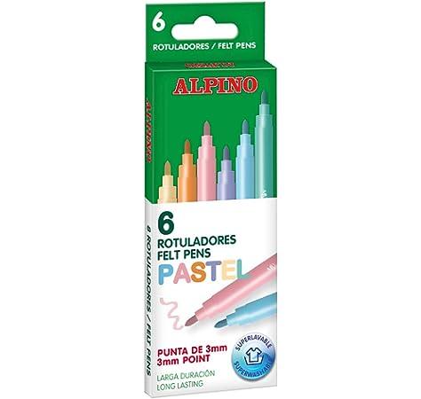 Alpino AR001004 - Estuche 6 rotuladores con puntas de 3mm, Pastel: Amazon.es: Oficina y papelería