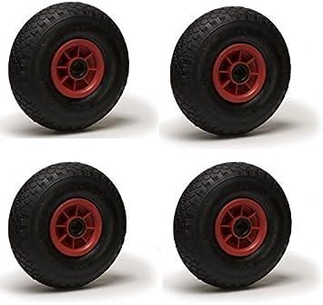 4 ruedas para carrito neumático con cámara de aire hinchable ...