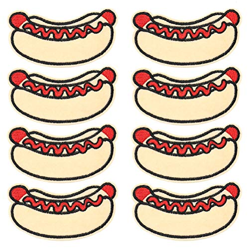 Iron Hot Dog - JETEHO 6 Pack Hot Dog Patches Badge, Iron Embroidered Patch Applique Iron Patches Accessories for Clothes
