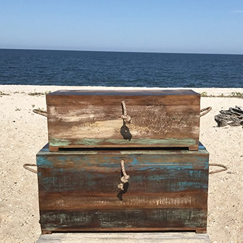 Whole House Worlds The West Coast Steamer Trunks, Relaxed Nautical Style, Distressed Blue and Teal Finish Over Brown Wood, Knotted Rope Lift and Side Handles, 35 1/2 and 31 1/2 Inches Long