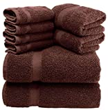 White Classic Luxury Brown Bath Towel Set - Combed Cotton Hotel Quality Absorbent 8 Piece Towels | 2 Bath Towels | 2 Hand Towels | 4 Washcloths [Worth $72.95] 8 Pack | Brown