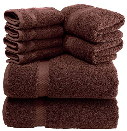 White Classic Luxury Brown Bath Towel Set – Combed Cotton Hotel Quality Absorbent 8 Piece Towels | 2 Bath Towels | 2 Hand Towels | 4 Washcloths [Worth $72.95] 8 Pack | Brown