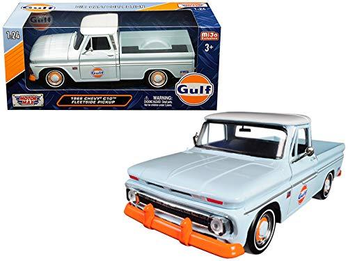 1966 Chevrolet C-10 Fleetside Pickup Truck Gulf Light Blue with White Top 1/24 Diecast Model Car by Motormax 79648